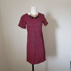 JCrew Factory Red and Navy straight dress